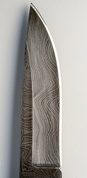 "Pattern welded ""Damascened steel"" pocket knife"
