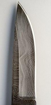 Pattern welded Damascened steel sheath knife