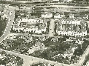 Christiansholm, Gentofte Municipality - The English Terraces viewed from the air in the 1930s