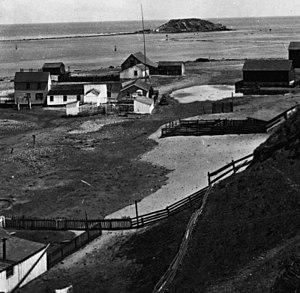 Deadman's Island (San Pedro) - Deadman's Island at the top of an 1873 photo of San Pedro