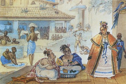 Interior of a gipsy's house in Brazil c. 1820, by Debret Debret casa ciganos.jpg