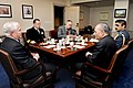 Defense.gov News Photo 101022-D-9880W-018 - Secretary of Defense Robert M. Gates left holds a Pentagon meeting with Pakistani Defense Minister Chaudhry Ahmed Mukhtar 2nd from right . Gates is.jpg