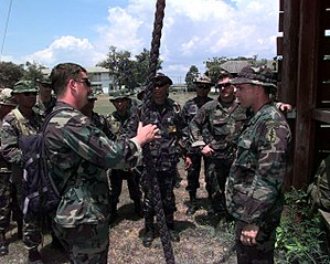 1st Special Forces Group (United States) - Two 1st Special Forces group soldiers instructing Thai soldiers in 1998