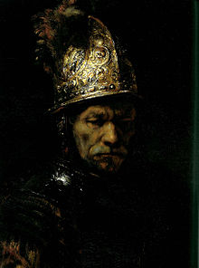 "Man in a Golden helmet, Berlin, once one of the most famous ""Rembrandt"" portraits, now accepted as not by the master."