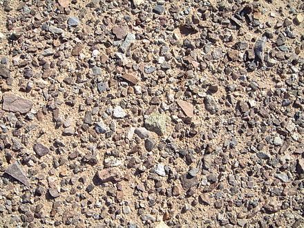 Windswept desert pavement of small, smooth, closely packed stones in the Mojave desert Desert Pavement Mojave 2000.jpg