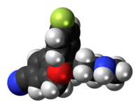 Space-filling model of the desmethylcitalopram molecule