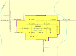 Detailed map of Assaria, Kansas