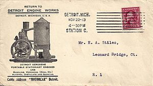 Corner card (philately) - Detroit Engine Works envelope showing not only the standard name and address in the corner card, but also a fancy advertisement with a photograph of one of its products.