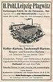 Die Kürschnerkunst, Hans Werner, 1914 (S. Anhang) Anzeige H. Pohl, Leipzig-Plagwitz, Kartonnagen-Fabrik für die Pelzwaren-, Hut- und Mützenbranche.jpg