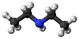 Ball and stick model of the diethylamine molecule
