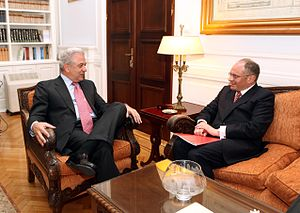 Greece–United Kingdom relations - Foreign Minister Dimitris Avramopoulos (left) meeting with the Ambassador of the United Kingdom David Landsman in Athens in July 2012