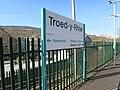 Direction of travel sign on Troed-y-Rhiw railway station (geograph 6077543).jpg