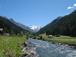 Dischmabach river in Switzerland