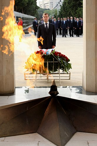 Martyrs' Lane - President Dmitry Medvedev at the monument to fallen heroes.