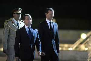 Welcoming ceremony. With President of Syria Ba...