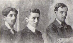 Carlos Pezoa Véliz - Left to right: Víctor Domingo Silva, Carlos Pezoa Véliz, Augusto d'Halmar.
