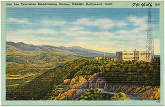 Mount Lee - Postcard view of the W6XAO transmitter, the Los Angeles area's first television station, circa 1940.  The station eventually moved to Mount Wilson as today's KCBS-TV
