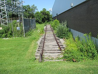 Don Mills Trail - Warehouse siding once served by the Leaside Spur (2017 photo)