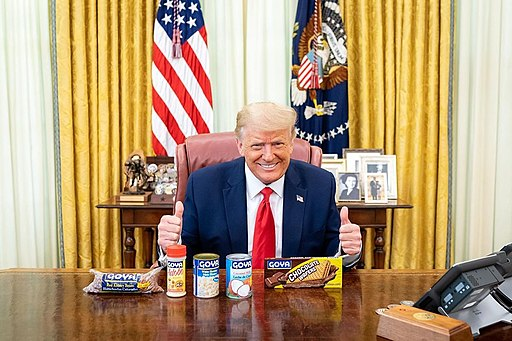 Donald J. Trump with Goya products on the Resolute Desk in the White House