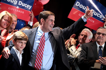 Ducey accepting his party's nomination for governor of Arizona in August 2014. Doug Ducey by Gage Skidmore 3.jpg