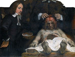 Diener - The autopsy assistant (diener) can be seen holding the skull of the cadaver.