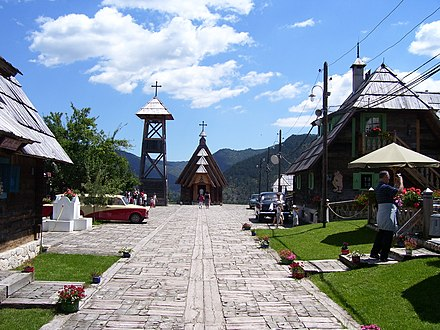 Drvengrad (also known as Mećavnik or Küstendorf), an ethno village in Serbia and home to the annual Kusturica film festival Drvengrad.jpg
