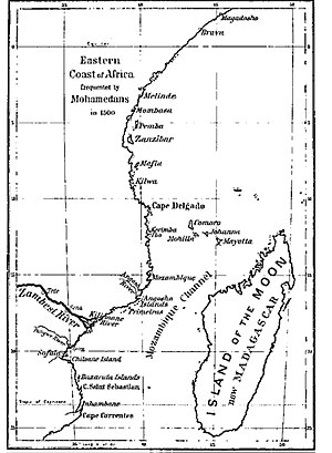 An old printed chart showing the channel between Madagascar and Mozambique