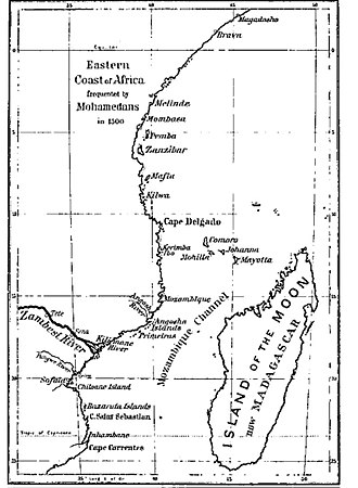 4th Portuguese India Armada (Gama, 1502) - East Africa, c. 1500. The Kilwa Sultanate held formal sway from Malindi in the north, to Cape Correntes in the south.