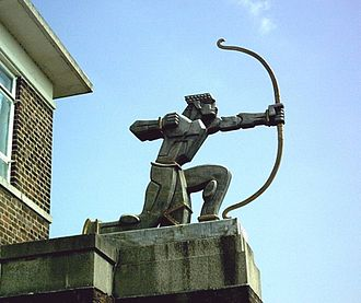 East Finchley tube station - Aumonier's The Archer statue