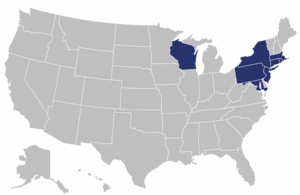 Eastern Association of Women's Rowing Colleges - Map of states where participating institutions are located