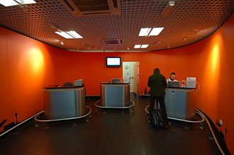 EasyGroup - Box office for the Easyjet shuttle bus to London City at London Stansted Airport