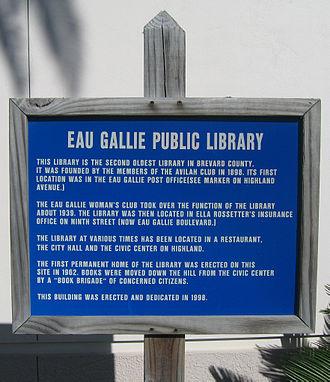 Eau Gallie Public Library - Image: Eau Gallie Public Library Historical Marker 1