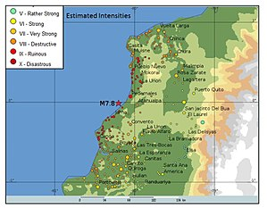 2016 Ecuador earthquake - Map of Ecuador zone