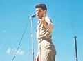 Eddie Fisher performs in a USO show at K-9 (Pusan East) in August 1952.JPG