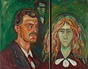 Edvard Munch - Self-Portrait Against a Green Background and Caricature Portrait of Tulla Larsen.jpg