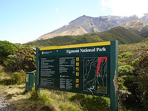 Egmont National Park - Entrance sign, Egmont NP, New Zealand