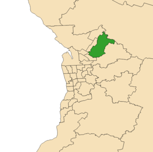 Electoral district of King (South Australia) - 2018 boundaries shown in green on Adelaide area map