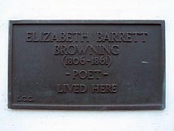 Elizabeth barrett browning (1806 1861) poet lived here