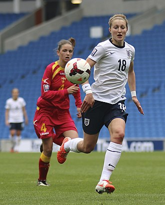 Ellen White (footballer) - White playing for England against Montenegro in April 2014