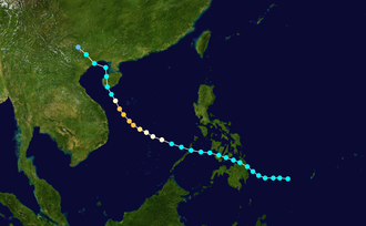 1954 Pacific typhoon season - Image: Elsie 1954 track