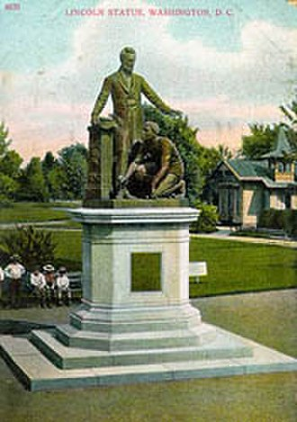 "Emancipation Memorial - A postcard captioned ""Lincoln Statue"" depicts the Emancipation Memorial circa 1900."