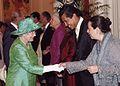 Embajador Juan José Gómez Camacho con la Reina Isabel II - Ambassador Gómez Camacho with her Majesty the Queen.JPG