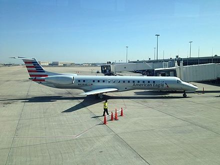 An American Eagle aircraft in new livery at Tulsa International Airport Embraer ERJ 145 (American Eagle) at TUL.jpg