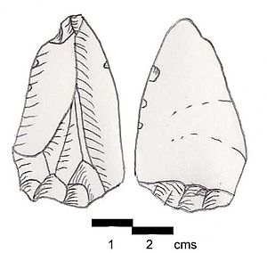 Mayrouba - Emireh Point. From Meyrouba VI, Lebanon. Greyish-blue Jurassic flint, patinated to white. Upper Paleolithic.