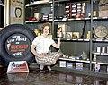 Employee displaying Fruehauf Fleet Miler products, Calgary, Alberta (34247766013).jpg
