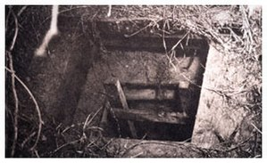 Great Papago Escape - The entrance to the tunnel was concealed by a large box of coal.