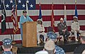 Ernie Arnold, standing, a retired U.S. Sailor and a World War II veteran, speaks during a ceremony commemorating the Battle of Midway and Memorial Day at Naval Station Everett, Wash., June 7, 2013 130607-N-MM360-028.jpg
