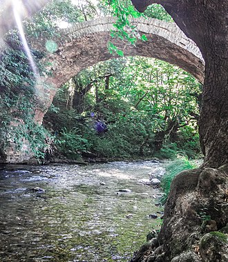 Erymanthos (river) - Erymanthos River and the old arched stone bridge in Tripotama village, Achaia-Ilia borders.