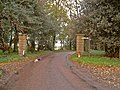 Estate gateposts and path sign - geograph.org.uk - 264618.jpg