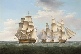 """Action of 16 October 1799 - """"HMS Ethalion in action with the Spanish frigate Thetis off Cape Finisterre, 16th October 1799"""", Thomas Whitcombe, 1800"""
